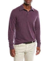 Neiman Marcus - Men's Cashmere Long-sleeve Polo Sweater - Lyst