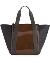 Brunello Cucinelli - Patent And Metallic Leather Tote Bag - Lyst