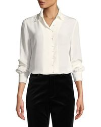 FRAME - Long-sleeve Silk Button-front Blouse W/ Neck Tie - Lyst
