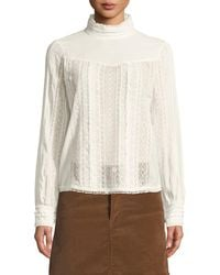 FRAME - Embroidered Lace High-neck Blouse - Lyst