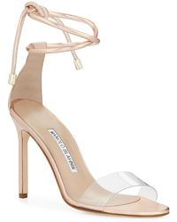 160dde2c537e Manolo Blahnik - Estro Leather   Pvc Ankle-wrap Sandals - Lyst