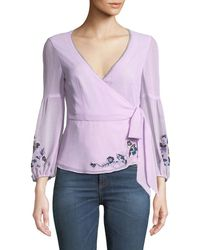 Nanette Lepore - Balance Embroidered Wrap Top - Lyst