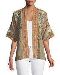 Johnny Was - Hira Embroidered Linen Kimono - Lyst