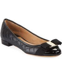 Ferragamo - Varina Quilted Bow Ballet Flats - Lyst