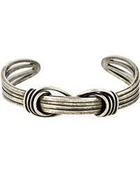 Saint Laurent - Men's Twisted Silvertone Wire Kick Cuff Bracelet - Lyst