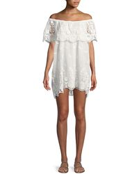 Miguelina - Dragon Fly Off-the-shoulder Scallop Lace Coverup Dress - Lyst
