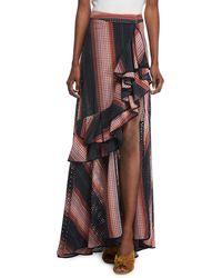Johanna Ortiz - Los Alamos Ruffle-front Stripe Eyelet Long Skirt - Lyst