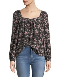 Rebecca Taylor - Tilda Floral Shirred Long-sleeve Charmeuse Top - Lyst