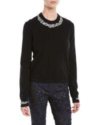 Michael Kors - Crystal-embellished Crewneck Cashmere-blend Sweater - Lyst