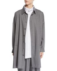 Eskandar - Tasmanian Mini-plaid Wool A-line Shirt Jacket - Lyst