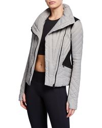 BLANC NOIR - Motion Paneled Puffer Jacket Black/charcoal Heather - Lyst