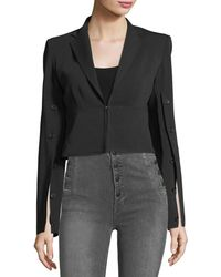 Robert Rodriguez - Button-sleeve Crepe Cropped Jacket - Lyst