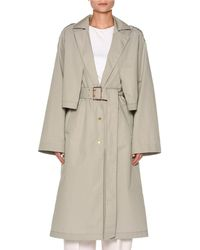 Agnona - Snap-front Belted Cotton-silk Trench Coat With Cape Detail - Lyst