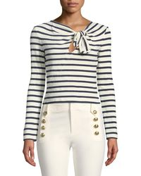 10 Crosby Derek Lam - Long-sleeve Knotted Striped Crop Top - Lyst