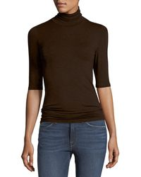 Neiman Marcus - Soft Touch Half-sleeve Turtleneck - Lyst