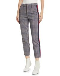 Mother - The Shaker Prep Fray Plaid Ankle Pants With Stripes - Lyst