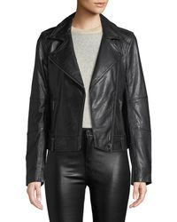 Cupcakes And Cashmere - Leather Zip-front Moto Jacket - Lyst
