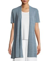 Eileen Fisher - Organic Linen-crepe Shimmer Long Cardigan - Lyst