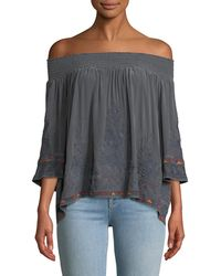 Johnny Was - Tahndi Off-the-shoulder Embroidered Silk Top - Lyst