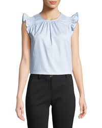 6f71cd78a13bc Lyst - MICHAEL Michael Kors Cold Shoulder Tiered Ruffle Short Top in ...