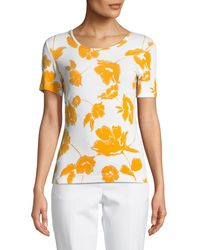 St. John - Outlined Painted Floral Jersey Top - Lyst