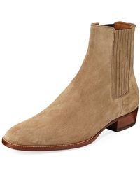 Saint Laurent - Men's Wyatt Suede Chelsea Boots - Lyst