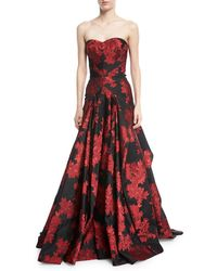 Zac Posen - Strapless Floral-printed Evening Gown W/ Full Skirt - Lyst
