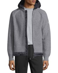 Moncler - Knitted Wool Cardigan W/ Hood - Lyst
