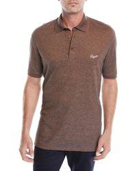Ermenegildo Zegna - Men's Vicuna Logo Short-sleeve Polo Shirt - Lyst