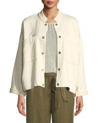 Eileen Fisher - Mandarin Collar Snap-front Channel Jacket - Lyst