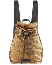 Brunello Cucinelli - Broken-glass Effect Backpack With Shearling Fur - Lyst