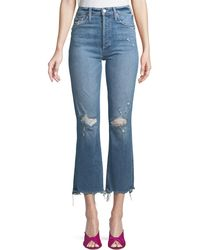 Mother - The Tripper High-rise Distressed Ankle Jeans - Lyst