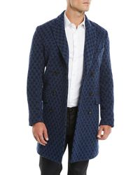Etro - Men's Double-breasted Jacquard Knit Coat W/ Patchwork Paisley Lining - Lyst