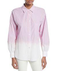 11a7d6d60a0d52 10 Crosby Derek Lam - Striped Ombre Button-down Shirt - Lyst