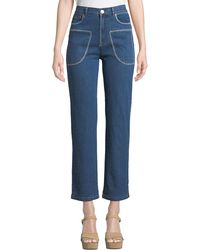 See By Chloé - Stitched Straight-leg Ankle Jeans - Lyst