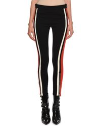 Alexander McQueen - Mid-rise Racer-striped Stretch-wool Leggings - Lyst