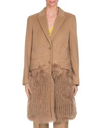 Givenchy - Wool-cashmere Lace Single-breasted Coat With Fur Hem - Lyst