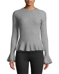 Jonathan Simkhai - Ribbed Wool Bell-sleeve Sweater - Lyst