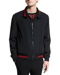 Lanvin - Zip-up Bomber Jacket With Striped Trim - Lyst