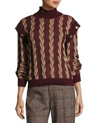 Marc Jacobs | Layered-sleeve Cable Wool Sweater | Lyst