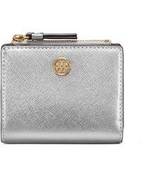 Tory Burch - Robinson Mini Metallic Leather Wallet - Lyst