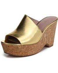 Diane von Furstenberg - Bonnie Metallic Wedge Sandal - Lyst