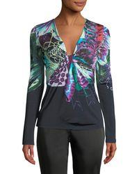 Roberto Cavalli - Long-sleeve V-neck Exotic Flower-print Jersey Top - Lyst