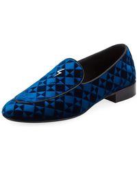 Giuseppe Zanotti - Suit Patterned Velvet Loafer - Lyst