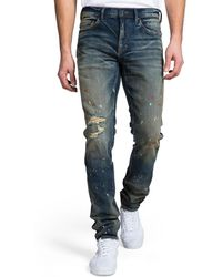 PRPS - Men's Skinny-fit Dark Wash Rip And Paint Denim Jeans - Lyst