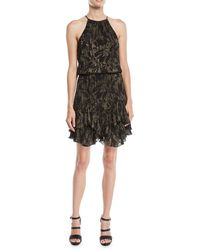 Halston - Printed Metallic Dress W/ Pleating - Lyst