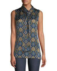 Lafayette 148 New York - Abbie Aztec Artistry Silk Blouse W/ Self-tie Neck - Lyst