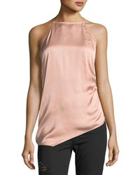 Haute Hippie - I Wished For You Halter Asymmetric Satin Top - Lyst