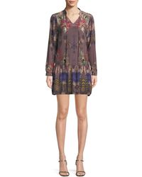 Tolani - Rory V-neck Mixed-print Flounce-hem Floral-print Silk Tunic Dress - Lyst