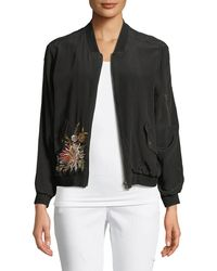 Johnny Was - Cerriti Floral-embroidered Silk Bomber Jacket - Lyst